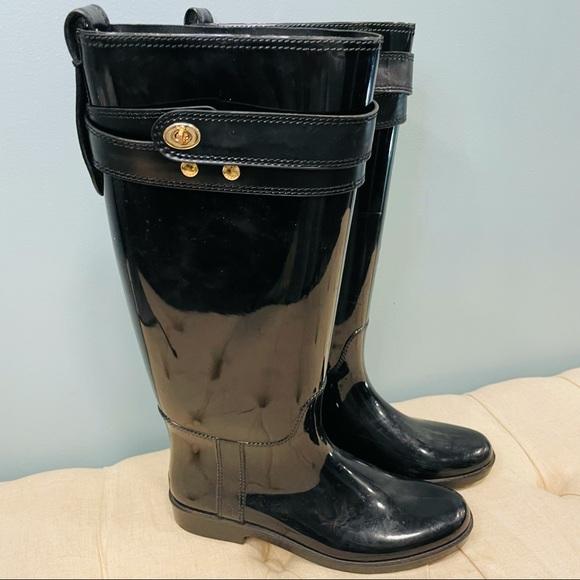 Coach!! Black tall rain boots size 9!